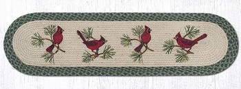 "13"" x 48"" Red Cardinal Birds Jute Oval Table Runner by Harry W. Smith"