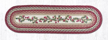 "13"" x 48"" Cranberries Jute Oval Table Runner by Harry W. Smith"