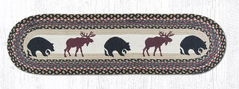 "13"" x 48"" Bears and Moose Braided Jute Oval Table Runner"