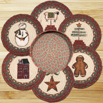 Winter Theme Braided Jute Trivets and Basket Holder, Set of 7