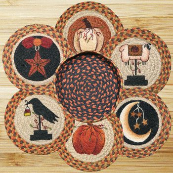 Autumn Theme Braided Jute Trivets and Basket Holder, Set of 7