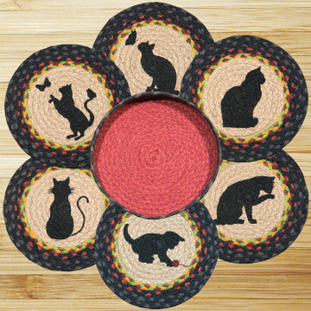 Cats Braided Jute Trivets and Basket Holder, Set of 7