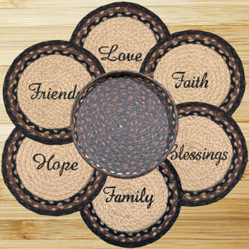 Blessings Sayings Braided Jute Trivets and Basket Holder, Set of 7