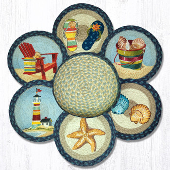 By The Sea Braided Jute Trivets and Basket Holder, Set of 7
