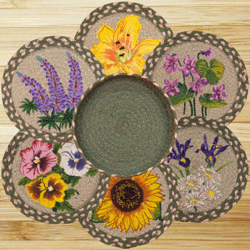 Assorted Flowers Braided Jute Trivets and Basket Holder, Set of 7