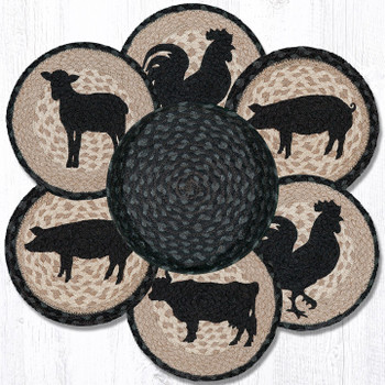Barnyard Animals Braided Jute Trivets and Basket Holder, Set of 7