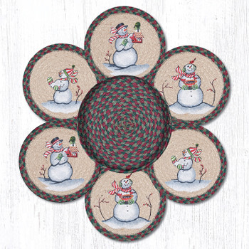 Snowman Braided Jute Trivets and Basket Holder, Set of 7