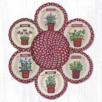 Assorted Herbs Braided Jute Trivets and Basket Holder, Set of 7