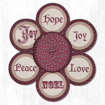 Christmas Sayings Braided Jute Trivets and Basket Holder, Set of 7