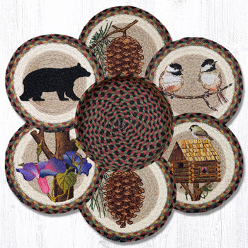 Assorted Cabin Bear Braided Jute Trivets and Basket Holder, Set of 7