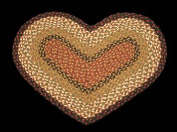 "20"" x 30"" Burgundy Mustard Braided Jute Heart Shaped Rug"