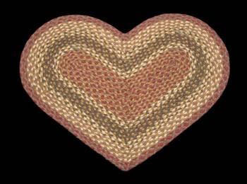 "20"" x 30"" Olive Burgundy Gray Braided Jute Heart Shaped Rug"