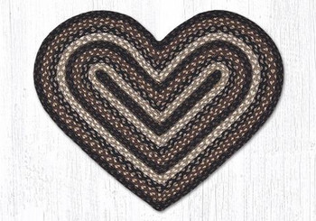 "20"" x 30"" Mocha Frappuccino Braided Jute Heart Shaped Rug"