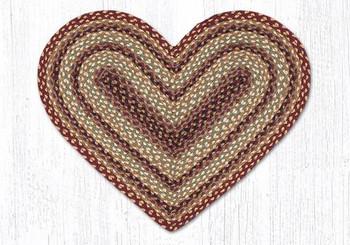 """20"""" x 30"""" Burgundy Gray Cream Braided Jute Heart Shaped Rug"""