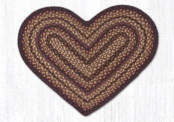 """20"""" x 30"""" Black Cherry Chocolate Cream Braided Jute Heart Shaped Rug"""
