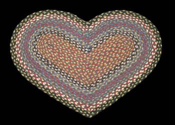 "20"" x 30"" Burgundy Blue Gray Braided Jute Heart Shaped Rug"