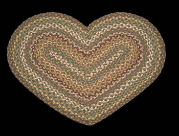 "20"" x 30"" Fir Ivory Braided Jute Heart Shaped Rug"