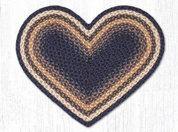 "20"" x 30"" Light Blue Dark Blue Mustard Braided Jute Heart Shaped Rug"