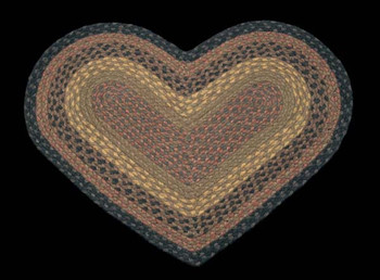"20"" x 30"" Brown Black Charcoal Braided Jute Heart Shaped Rug"