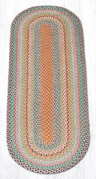 2' x 6' Multi Color Braided Jute Oval Runner Rug