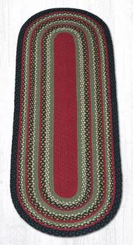 2' x 6' Olive Burgundy Charcoal Braided Jute Oval Runner Rug