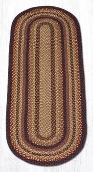 2' x 6' Black Cherry Chocolate Cream Braided Jute Oval Runner Rug