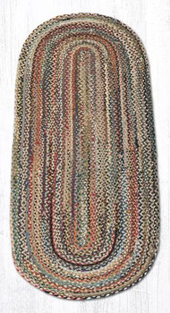 2' x 6' Random Colors Braided Jute Oval Runner Rug