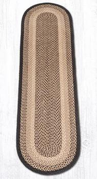 2' x 8' Chocolate Natural Braided Jute Oval Runner Rug
