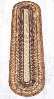 2' x 8' Honey Vanilla Ginger Braided Jute Oval Runner Rug