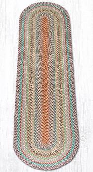 2' x 8' Multi Color Braided Jute Oval Runner Rug