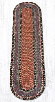 2' x 8' Burgundy Blue Gray Braided Jute Oval Runner Rug