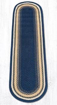 2' x 8' Light Blue Dark Blue Mustard Braided Jute Oval Runner Rug