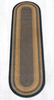 2' x 8' Brown Black Charcoal Braided Jute Oval Runner Rug