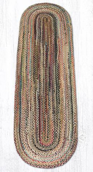 2' x 8' Random Colors Braided Jute Oval Runner Rug