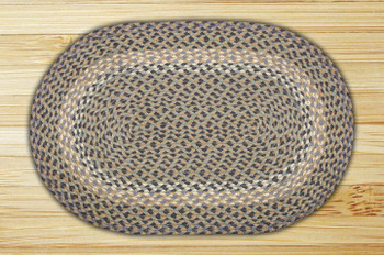 "20"" x 30"" Blue Natural Braided Jute Oval Rug"