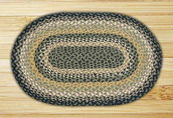 "20"" x 30"" Black Mustard Cream Braided Jute Oval Rug"