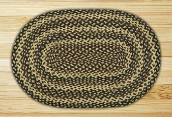 "20"" x 30"" Ebony Ivory Chocolate Braided Jute Oval Rug"