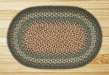 "20"" x 30"" Dark Green Braided Jute Oval Rug"