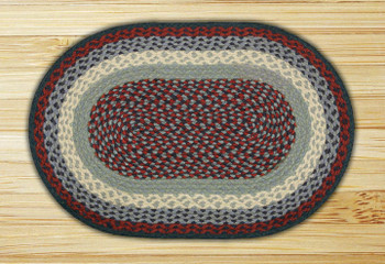 "20"" x 30"" Blue Burgundy Braided Jute Oval Rug"