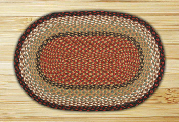 "20"" x 30"" Burgundy Mustard Braided Jute Oval Rug"