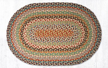 "20"" x 30"" Multi Color Braided Jute Oval Rug"