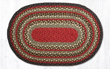 "20"" x 30"" Olive Burgundy Charcoal Braided Jute Oval Rug"