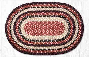 "20"" x 30"" Burgundy Black Tan Braided Jute Oval Rug"
