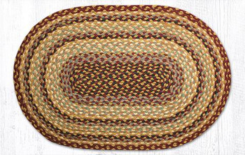 "20"" x 30"" Burgundy/Gray/Cream Braided Jute Oval Rug"