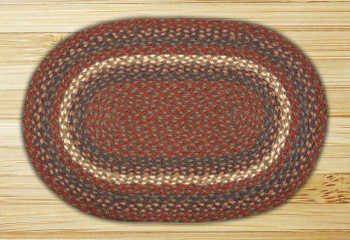 "20"" x 30"" Burgundy Gray Braided Jute Oval Rug"