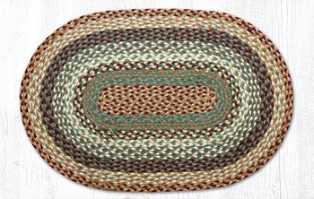 "20"" x 30"" Buttermilk Cranberry Braided Jute Oval Rug"