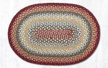 """20"""" x 30"""" Thistle Green Country Red Braided Jute Oval Rug"""
