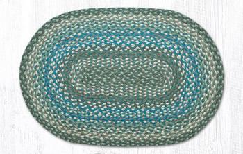 "20"" x 30"" Sage Ivory Settlers Blue Braided Jute Oval Rug"