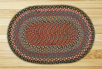 "20"" x 30"" Burgundy Blue Gray Braided Jute Oval Rug"