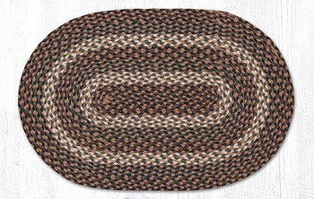 "20"" x 30"" Tan Braided Jute Oval Rug"